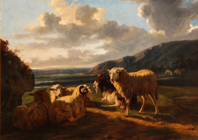 Dutch School Sheep grazing in a pasture 25 1/4 x 35in