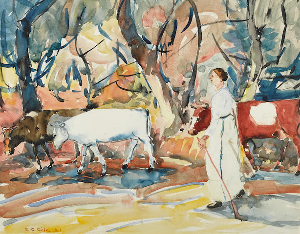 Selden Connor Gile (American, 1877-1947) Woman in a white dress herding cows 16 x 22in overall: 20 3/4 x 24 3/4in