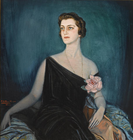 Federico Beltran Masses (Spanish, 1885-1949) A portrait of May Fleishhacker 44 1/2 x 42 1/4in (113 x 107.3cm)