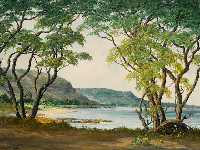 Lloyd Sexton, Jr. (American, 1912-1990) Nanakuli Beach looking toward Makua Valley 18 x 24in overall: 29 3/4 x 35 3/4in