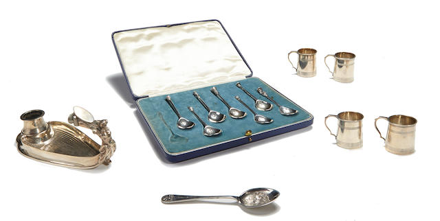 An assembled group of English  sterling silver  flatware, hollowware and accessories by various makers,  late 19th-20th century
