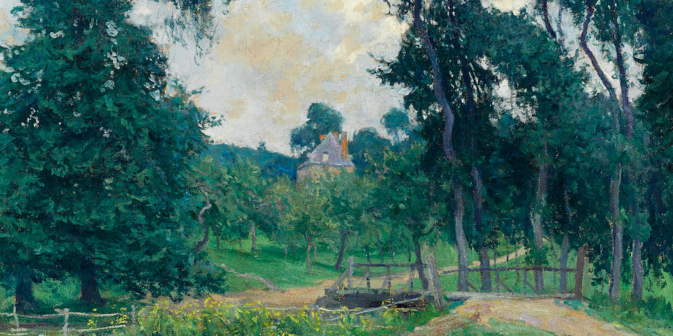 Guy Rose (American, 1867-1925) A Normandy farm 23 3/4 x 28 3/4in