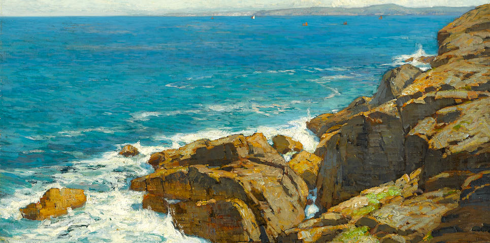 William Wendt (American, 1865-1946) Vibrant Coast (Dana Point) 24 x 36in overall: 34 x 46in