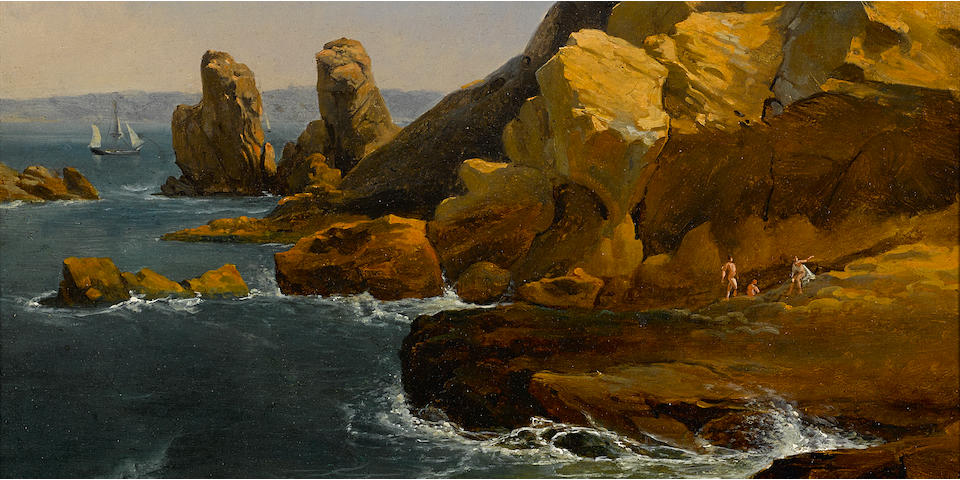 Albert Bierstadt (American, 1830-1902) Bathers along a rocky coast, believed to be Northern California 13 x 15in
