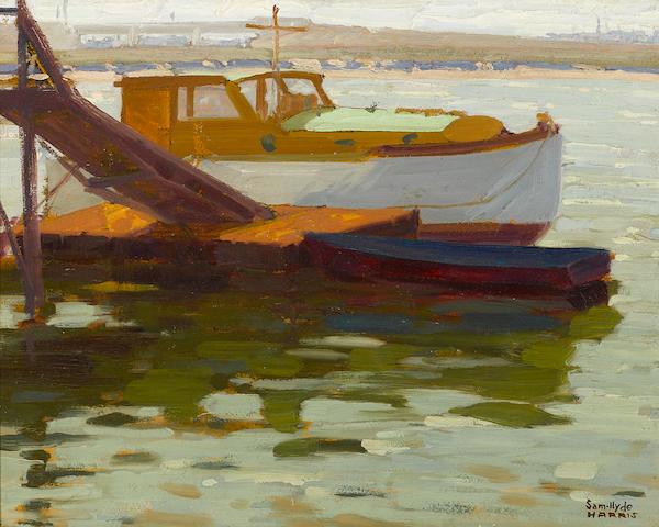 Sam Hyde Harris (American, 1889-1977) Boats along a back bay dock 16 x 20in