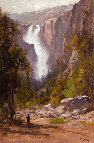 Thomas Hill (American, 1829-1908) The Cascades, Yosemite  21 x 14in overall: 26 x 19in
