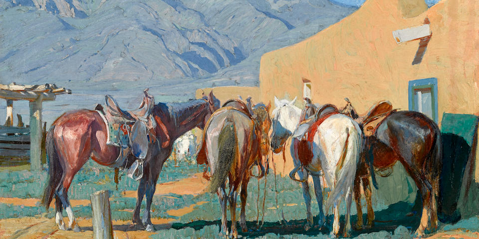 Oscar Edmund Berninghaus (American, 1874-1952) At the hitching post 22 1/4 x 28in overall: 28 x 34in