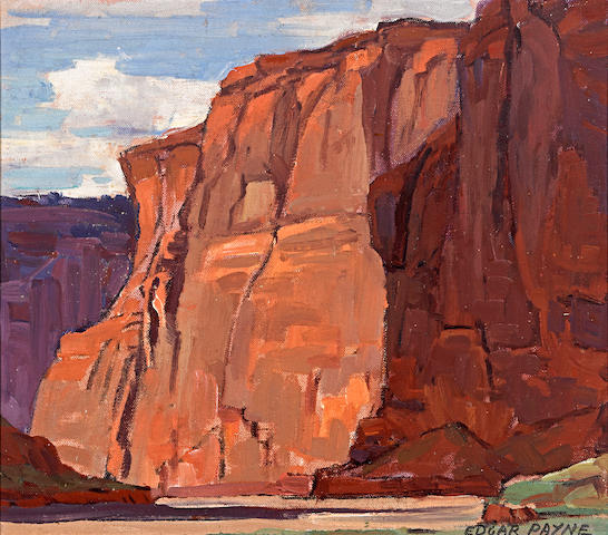 Edgar Payne (1883-1947) Late afternoon, Canyon De Chelly 12 x 13 1/4in overall: 16 x 17 3/4in
