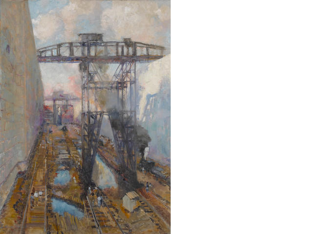 Alson Skinner Clark (1876-1949) The locks at Panama 51 1/2 x 38 1/2in overall: 62 3/4 x 49 3/4in