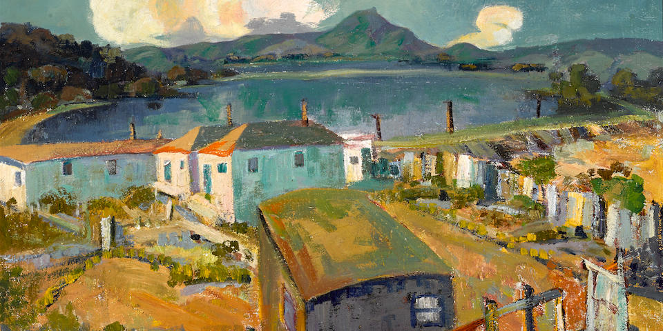 Selden Connor Gile (American, 1877-1947) Tiburon highway along the lagoon 24 x 30in overall: 29 1/4 x 35 1/4in