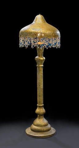 Gilt And Painted Metal Floor Lamp