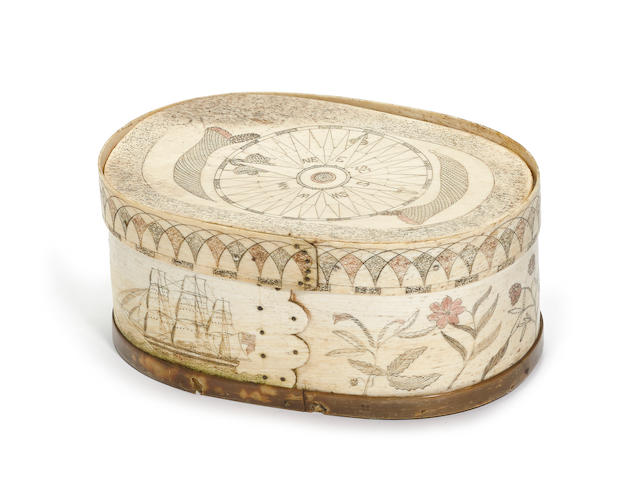An American scrimshaw bone ditty box 19th century