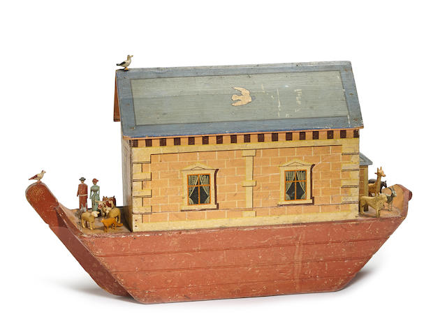 A fine German painted wood Noah's Ark with forty-five figures second half 19th century