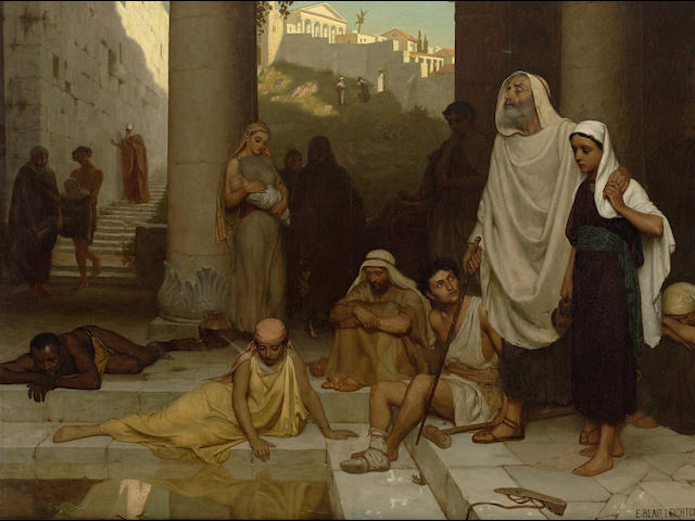 Edmund Blair Leighton (British, 1852-1922) The blind man at the Pool of Siloam 40 x 50 1/4in (101.6 x 127.6cm)