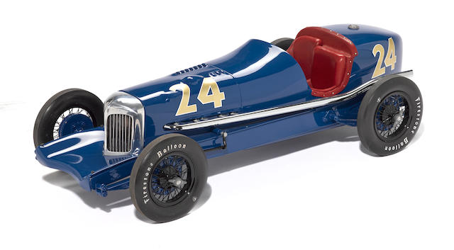 A scratchbuilt 1/8th scale model of the 1932 Lucenti Special Indy car by John Snowberger,