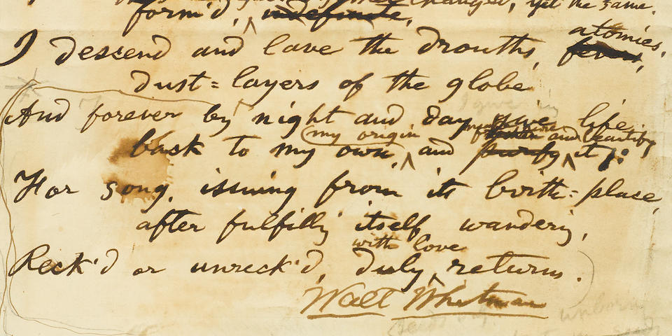 "WHITMAN, WALT. 1819-1892.  Autograph Manuscript Signed (""Walt Whitman""), titled ""Rain Enigma,"" 1 p, 4to, [Camden, NJ, 1885],"