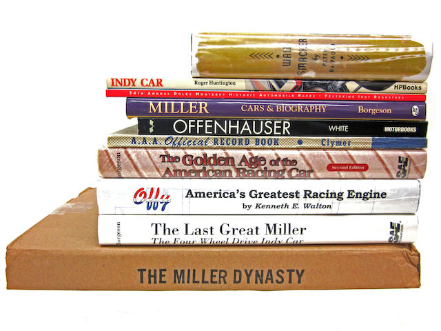 A book lot focusing on early American single-seater and Indianapolis racing, featuring titles on Harry Miller and the Miller racing cars as well as Offenhauser engines,