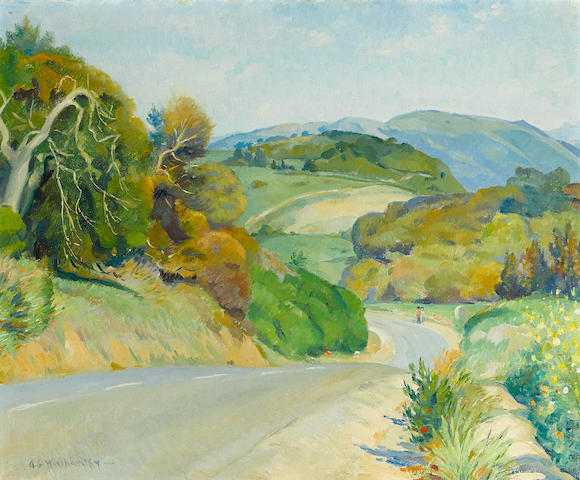 Abel George Warshawsky (American, 1883-1962) Highway, Carmel Valley 20 x 24in