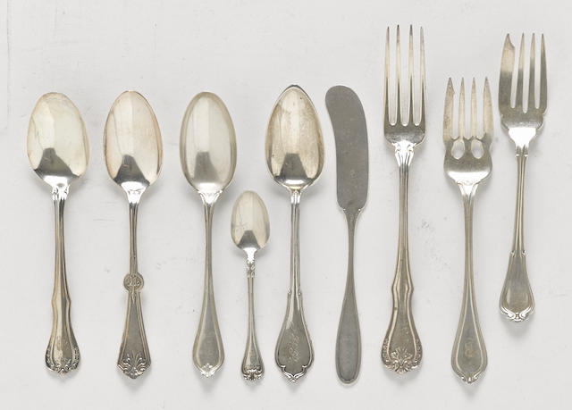 An assembled group of American sterling silver flatware by various makers,  late 19th-20th century