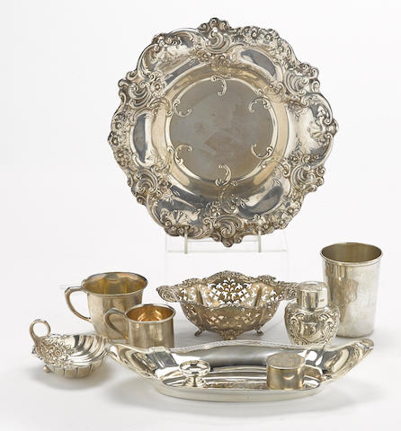 An assembled group of English and American sterling silver holloware and flatware by various makers 20th century