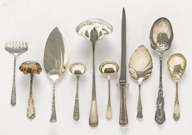 An assembled group of American  sterling silver serving flatware pieces by various makers,  late 19th-20th century