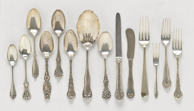 An assembled group of American sterling silver flatware by various makers,  20th century
