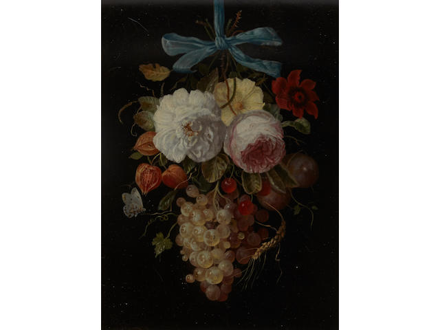 Dutch School, 18th century A still life of hanging fruit and flowers 12 x 8 3/4in