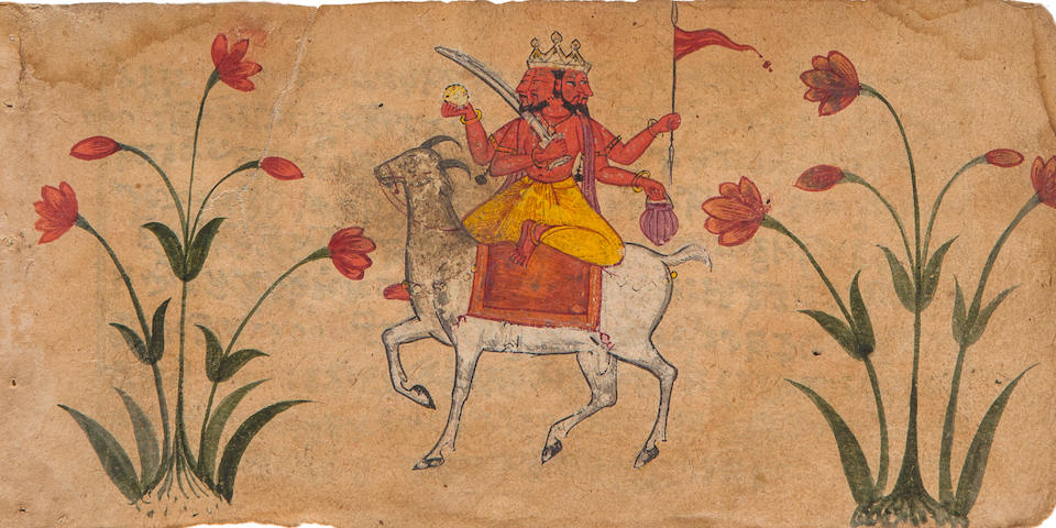 Two illustrated manuscript leaves from an unidentified series, depicting a) Hanuman venerating Rama with Sita and Lakshmi; b) Brahma riding on a bull Chamba or Mandi, circa 1675