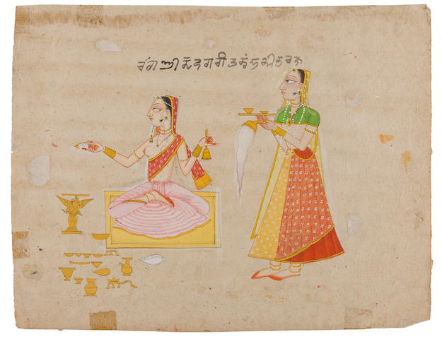 An illustration to a ragamala series: devagari ragini: a maiden making an offering, accompanied by a female attendant Baghal, early 18th Century