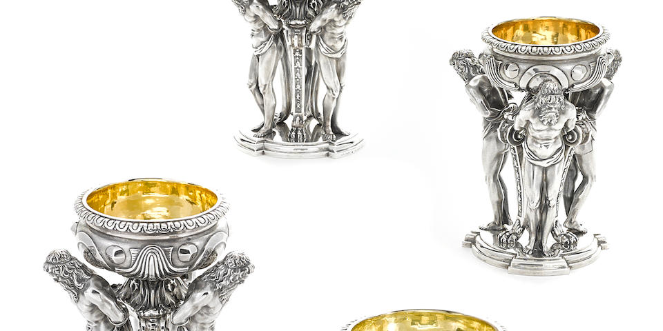 A set of four William IV  sterling silver  figural pedestal master salt cellars by Paul Storr; retailed by Storr & Mortimer, London, 1832