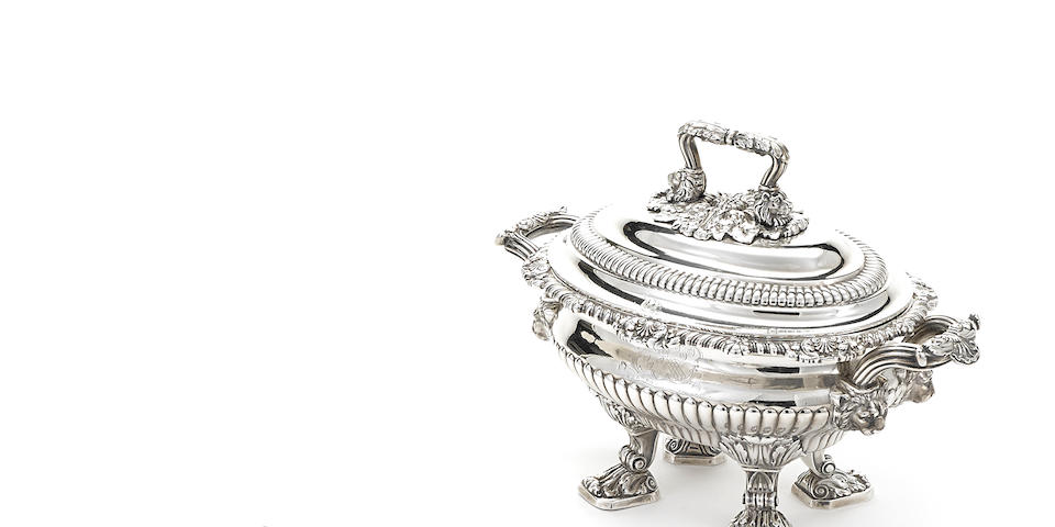 A pair of Regency sterling silver  oval footed sauce tureens by Paul Storr, London,  1815