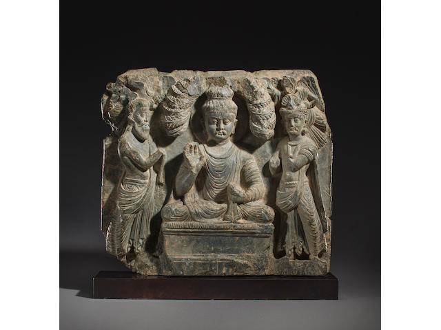 A schist relief panel of the Entreaty to Preach Ancient region of Gandhara, 2nd/3rd century
