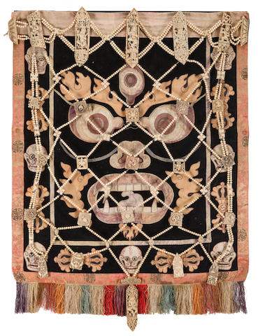 A necromancer's bone apron with embroidered silk backing Tibet, 18th/19th century