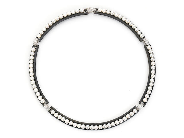 A cultured pearl, diamond and patinated steel choker necklace, Marsh