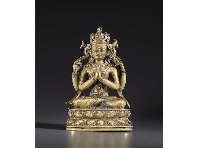 A copper alloy figure of Shadakshari  West Tibet, 14th/15th century