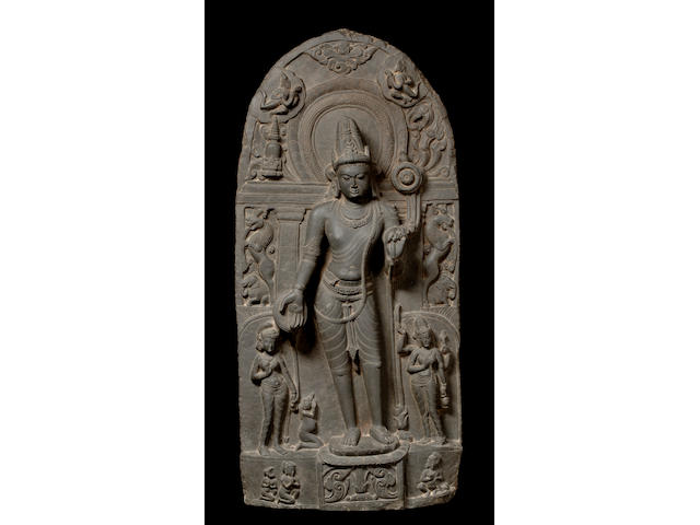 A blackstone stele of Avalokitshvara Bihar, Pala period, late 10th century
