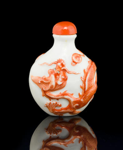 A molded porcelain snuff bottle    Four-character Daoguang mark and of the period