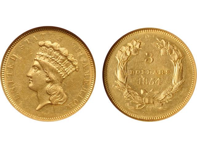 1854-O $3 AU58 NGC