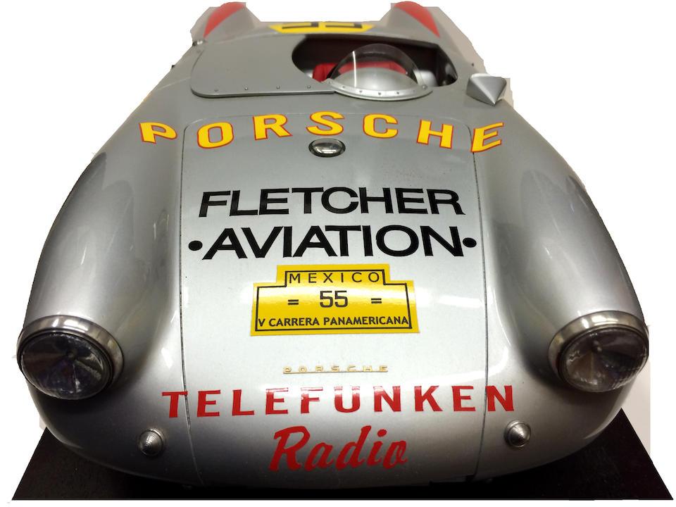 A 1:8 scale model of the 1954 Fletcher Aviation Porsche 550 Spyder Carrera Panamericana race car,