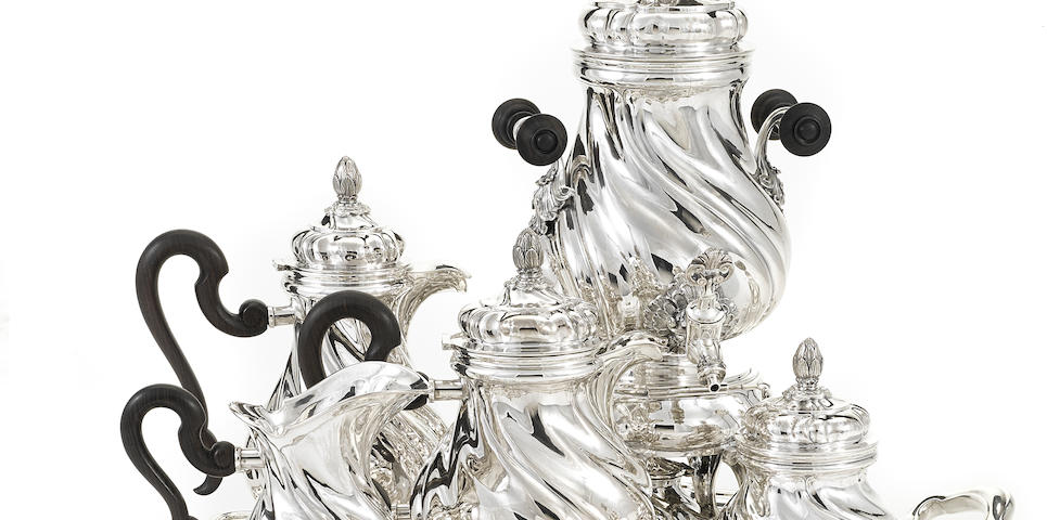 An Italian  sterling silver five-piece tea and coffee service with matching two-handled tray by Pradella Ilario for Buccellati, Milan,  20th century