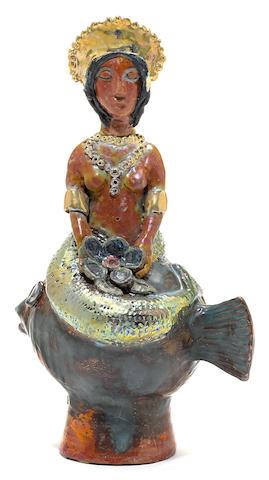 Beatrice Wood (American, 1893-1998) Fish and Mermaid Figural Teapot