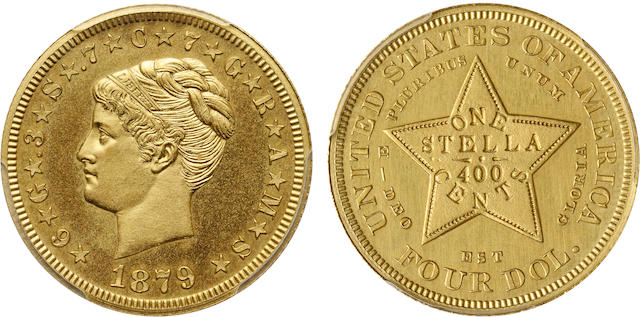 1879 $4 Coiled Hair Stella, Gilt Copper Pattern, Judd-1639, Pollock-1839, Low R.7, Genuine, Uncirculated Details, Plated PCGS