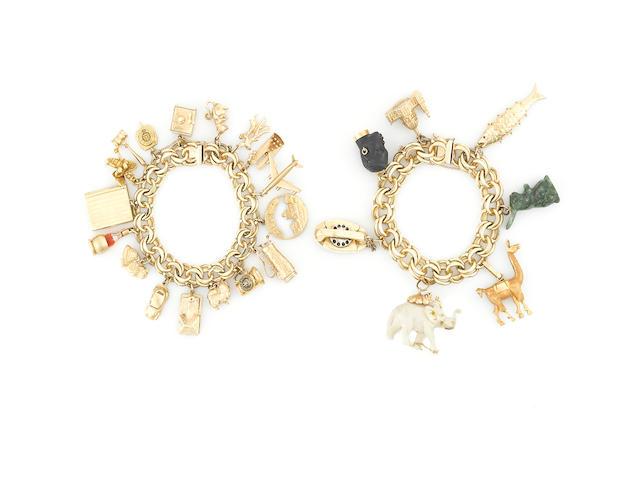 Two fourteen karat gold charm bracelets