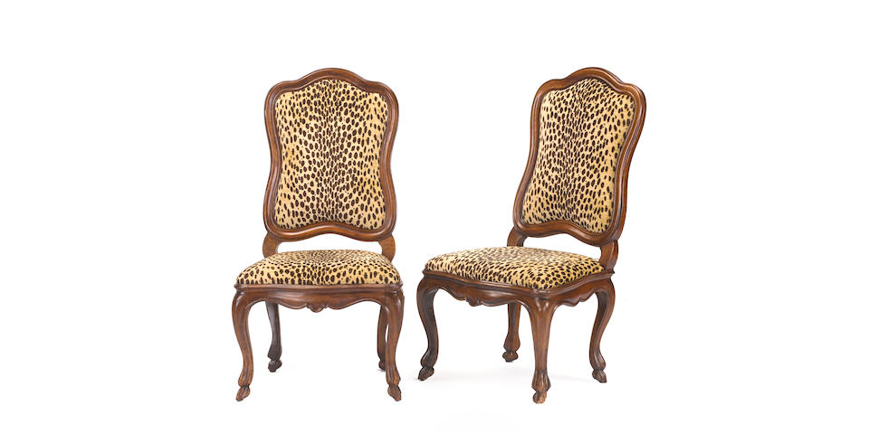 A pair of Italian Rococo walnut side chairs late 18th century