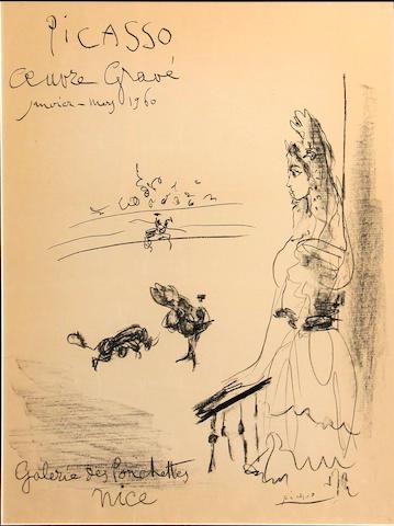 Pablo Picasso (Spanish, 1881-1973); Femme au Balcon, Affiche Oeuvre Gravé;