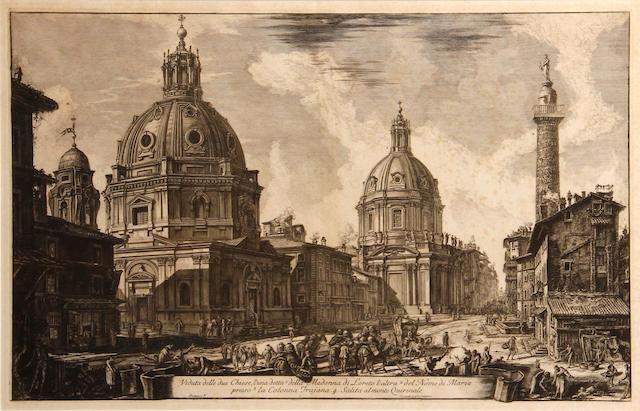 Giovanni Battista Piranesi (Italian, 1720-1778); Veduta delle due Chiese, l'una detta della Madonna di Loreto..., from Vedute di Roma;