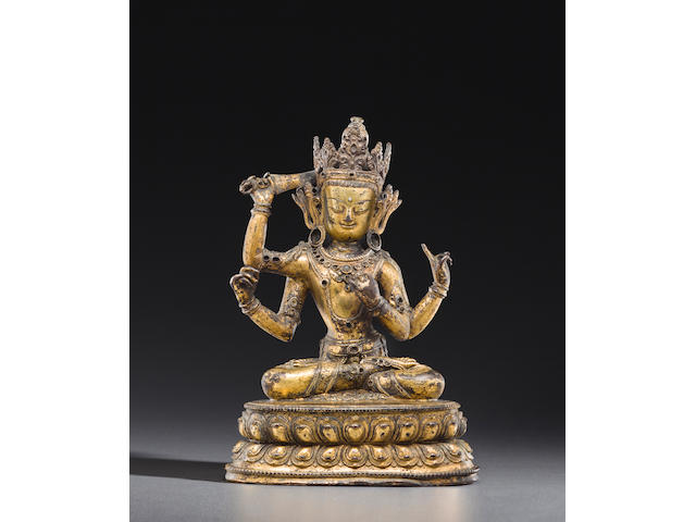 A gilt copper alloy figure of Manjushri Namasangiti Nepal, 15th century