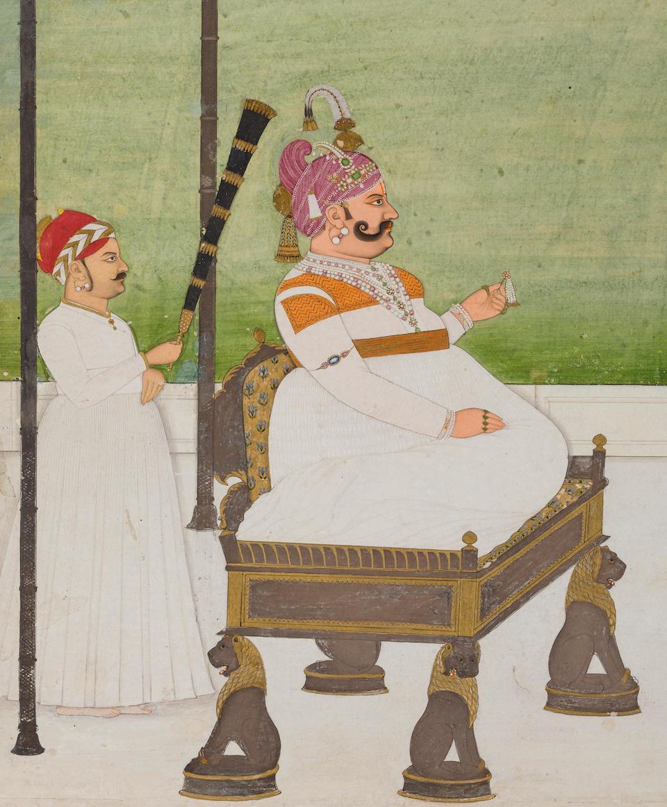 A portrait of Maharaja Sawai Madho Singh I of Jaipur  Attributed to Ramji Das, Jaipur, circa 1760