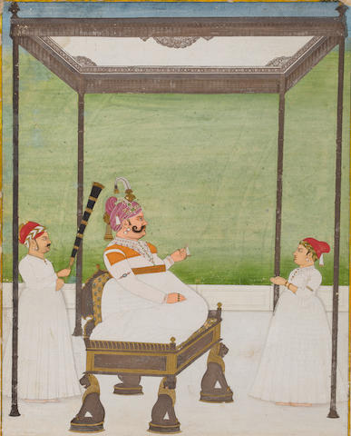 A portrait of Maharaja Sawai Madho Singh I of Jaipur  Attributed to Ramji Das, Jaipur, circa 1760