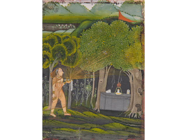A female devotee approaches a Shiva shrine School of Chokha, Devgarh, circa 1820